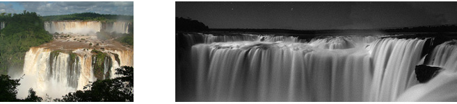 iguazu falls  with full moon