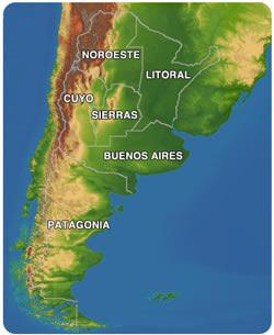 Argentina Practical Information - Argentina landforms map